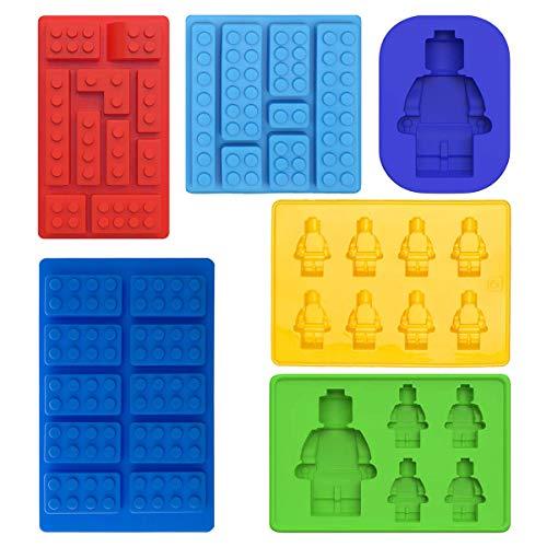Molde de silicona para cubitos de hielo con diseño de robots, moldes de chocolate, para fiestas infantiles y hornear, diseño de bloques de construcción, juego de 6 unidades