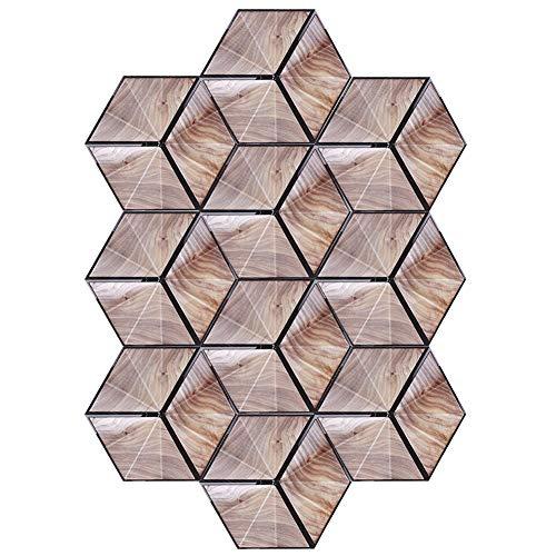 JYLSYMJa Adhesivos para baldosas de cerámica, Adhesivo Impermeable para Suelo Antideslizante con Ranuras Transpirables, Adhesivos hexagonales de imitación de Madera para Entrada, balcón