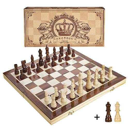 Amerous 15 Inches Magnetic Wooden Chess Set - 2 Extra Queens - Folding Board, Handmade Portable Travel Chess Board Game Sets with Game Pieces Storage Slots - Beginner Chess Set for Kids and Adults