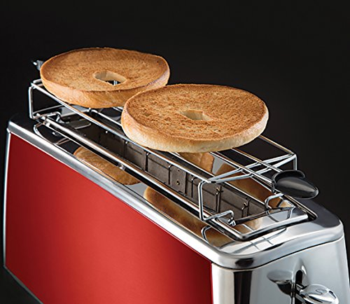 Russell Hobbs 23250-56 Toaster Grille-Pain Luna, Spécial Baguette, Cuisson Rapide, Chauffe Viennoiserie - Rouge