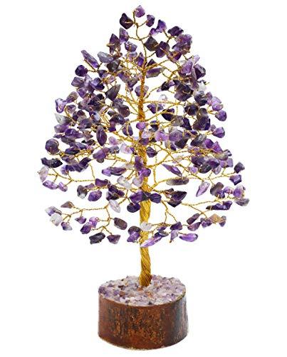 Crocon Amethyst Gemstone Money Tree Feng Shui Bonsai for Reiki Healing Chakra Stone Balancing Mystical Spiritual Home Interior Office Decor Size: 10 Inch
