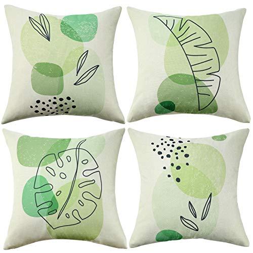 Wosendy Fundas de cojín verdes 45 x 45 almohadas decorativas para cama paquete de 4 fundas de cojín de lino cuadrado fundas de almohada para salón sofá sofá