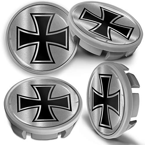SkinoEu 4 x 65mm Tapas de Rueda de Centro Centrales Llantas Aluminio Tapacubos Compatibles con VW Número de Pieza 3B7601171 / 6U7601171 Gris Plata Cruz de Hierro CVS 15