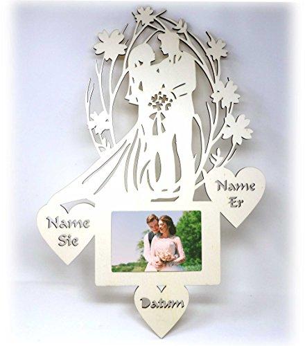 Hochzeitsgeschenke Holz Bilderrahmen mit Namen I Geschenke zur Hochzeit Hochzeitstag Ehemann Ehefrau Frau Mann Hochzeitspaar I Optional mit Farbe
