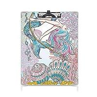 クリップボード 人魚 ミニバインダー ギリシャ神話の海のサイレンの漫画人魚魚の尾 用箋挟 クロス貼 A4 短辺とじピンクブルーの女性の人間