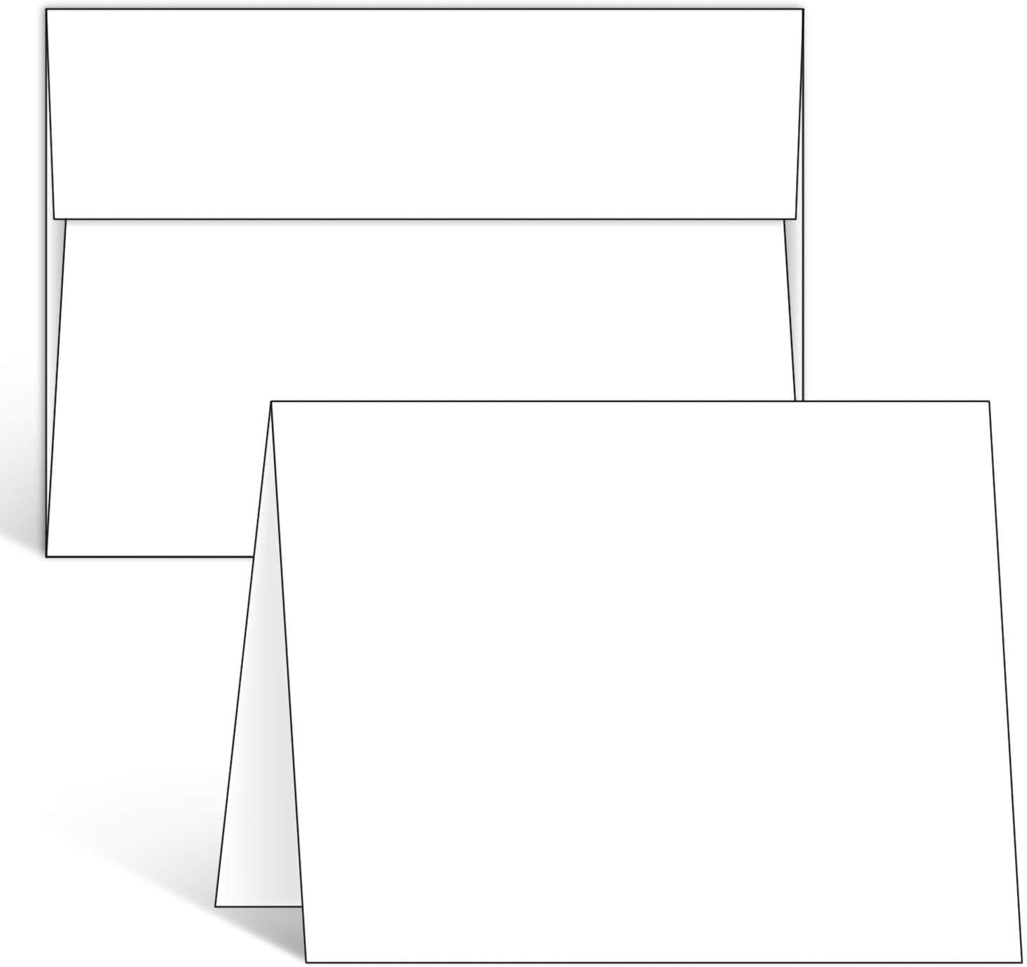 Blank White Cards and Envelopes 50 Pack, Ohuhu 5 x 7 Heavyweight Folded Cardstock and A7 Envelopes for DIY Greeting Cards, Wedding, Birthday, Invitations, Thank You Cards & All Occasion
