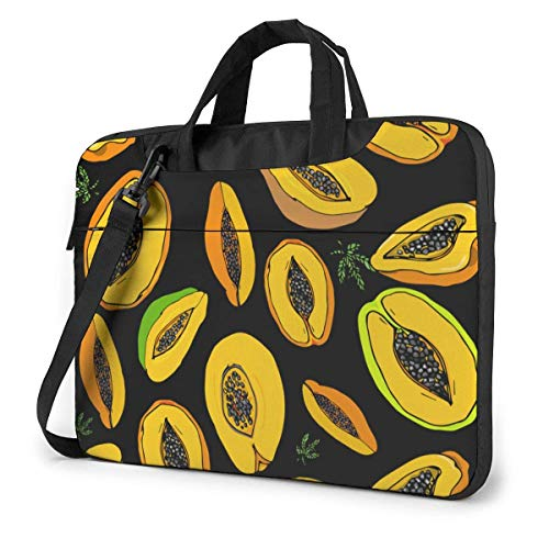 15.6 inch Laptop Shoulder Briefcase Messenger Fruits Yellow Papaya Patten Tablet Bussiness Carrying Handbag Case Sleeve