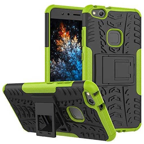 MRSTER Huawei P10 Lite Custodia, [Heavy Duty Protezione] [Dual Layer] Difficile Silicone Kickstand Ibrida Shock Proof Cover Custodia Compatibile Huawei P10 Lite. Hyun Green