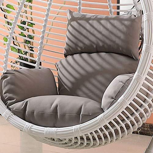 ZHAS Garden Patio Rattan Swing Chair Wicker Hanging Egg Chair Hammock Cushion and Cover Indoor or Outdoor-Brown (Color : Gray)(Excluding chair)