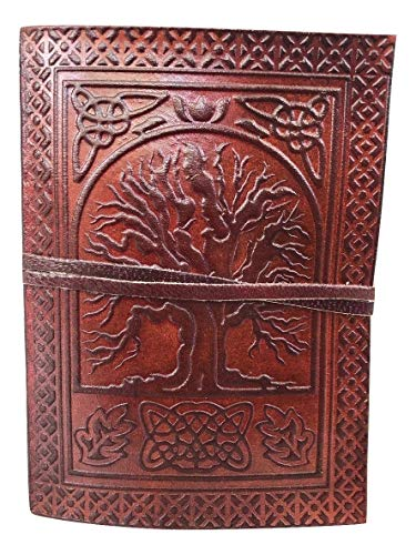 Universal Genuine Leather Sacred Oak Tree Growth Journal Blank Unlined NoteBook for Artists Sketching Writing Poerty Scrapbook Picture Album Notepad Gift for Men and Women