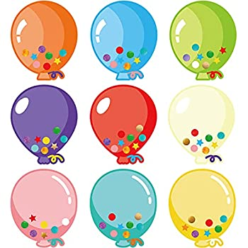 45 Pieces Colorful Balloons Cut-Outs Balloon Accent Paper Cutout Bulletin Board Classroom Decoration Balloon Name Tag Label for Teacher Student Back to School Party Supplies 5.3 x 6.3 Inch