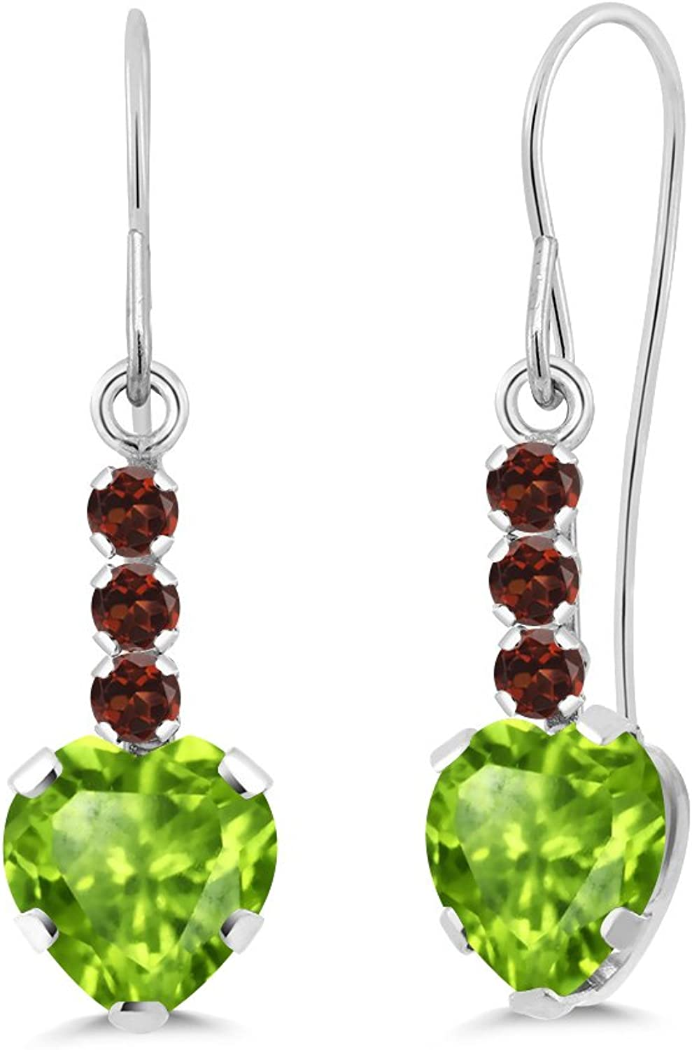 1.90 Ct Heart Shape Green Peridot Red Garnet 14K White gold Earrings