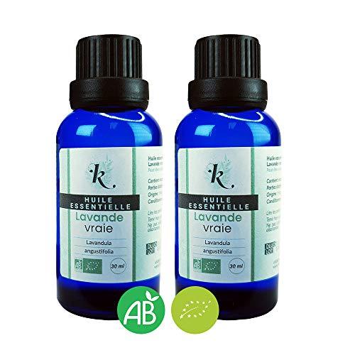 KLARCHA - Duo XL Lavande Vraie 2 x 30 ml - Huile Essentielle Artisanale Bio HEBBD Lavande Vraie, Fine ou Officinale – Origine France - 100% Pure et Naturelle - Labellisée ECOCERT