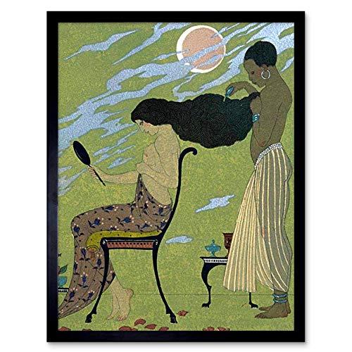 Wee Blauwe Coo Schilderij Illustrator Frans Barbier Haar Dressoir Art Print Ingelijste Poster Muurdecoratie 12X16 Inch