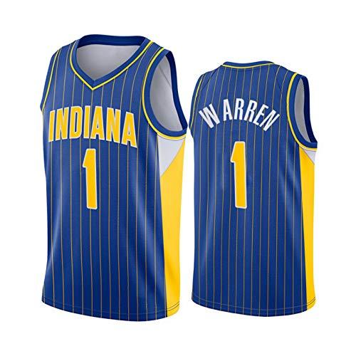LXLX 2021 Warren camisetas de baloncesto, Indiana 1 # Azul Baloncesto Entrenamiento Ropa Deportes Y Ocio Secado Rápido Y Transpirable Chaleco Sin Mangas L