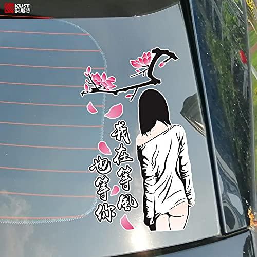 JZLMF - Adhesivo decorativo para la luna trasera del coche, diseño con texto creativo