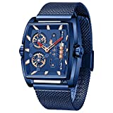 Cagarny Mens Wrist Watch, Bucket Shell Japanese Quartz Movement Waterproof Mesh Belt Stainless Steel Watches for Men (Color : Blue)