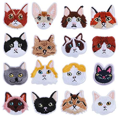 LIHAO 16 Stück Katze Set Patches Zum Aufbügeln Niedlich Aufnäher für Kleidung Taschen DIY Katze Applikation Deko