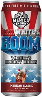 'Merica Energy Drinks 16 ounce cans of Red White & Boom! (Merican Classic Cherry Cola, 6)