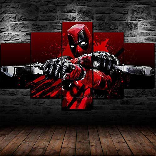 Cuadro Sobre Lienzo 5 Piezas Impresión En Lienzo Ancho: 150Cm, Altura: 100Cm Listo Para Colgar-Deadpool Comics Armas En Un Marco