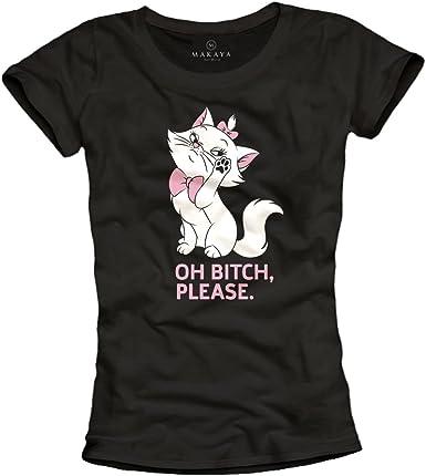 Camiseta Gato Mujer - con Frase Mensaje Divertida - Oh Please: Amazon.es: Ropa y accesorios