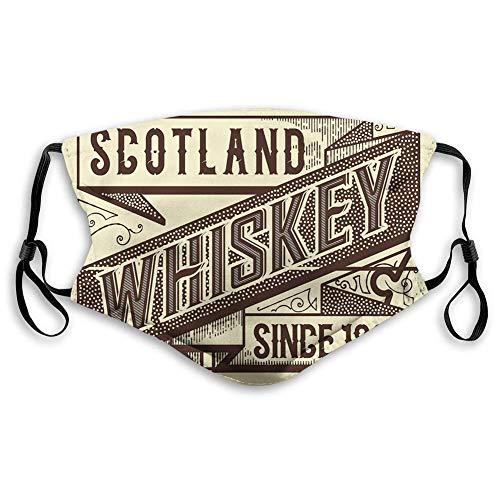 Mann Höhle, Whisky Design Old Fashion Schottland Alkohol Retro Getränk Geschmack Qualität, Elfenbein Schokolade Bequemer Mund Scarf für Jungen Mädchen Männer Frauen,20x15cm