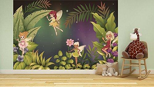 Bilderdepot24 Fototapete selbstklebend |Feenwiese | in Vintage 75x50 cm | Poster Dekoration Wandbild Wandposter Wand Wanddeko Mädchen