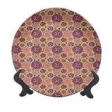 Plato decorativo de cerámica abstracto, de 25,4 cm, diseño de dibujos animados animados y elementos de arte tribal maya, plato decorativo de cerámica para mesa de comedor, decoración del hogar