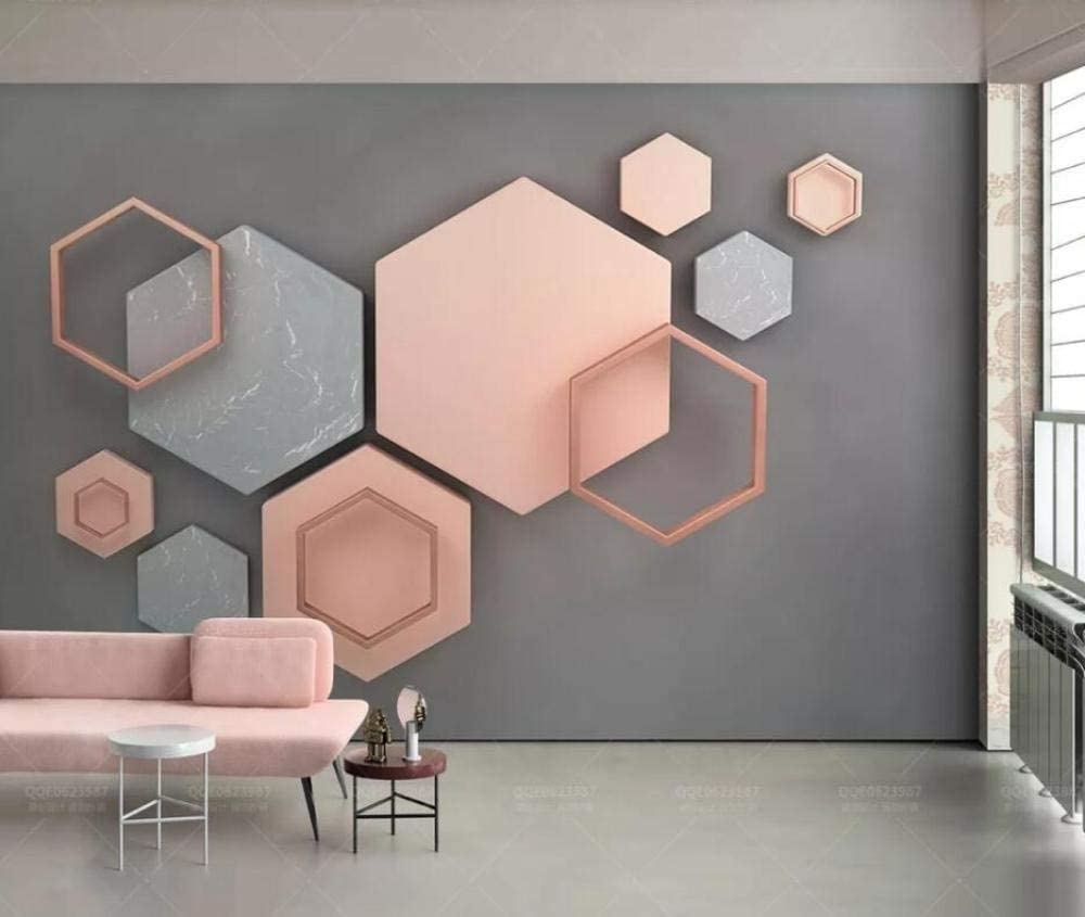 Photo Wallpaper 11D Modern Hexagon Simple Pink Geometric Living