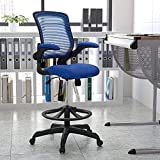 Flash Furniture Mid-Back Blue Mesh Ergonomic Drafting Chair with Adjustable Foot Ring and...
