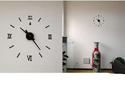 Lookatool European Style Home Wall Stickers DIY 3D Decoration Art Clock BK