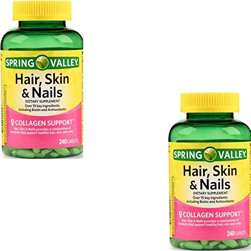 Spring Valley - Hair, Skin & Nails, Over 20 Ingredients Including Biotin and Collagen, 240 Caplets (2 Pack)