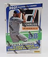 2021 Panini Donruss MLB Baseball Blaster Box - 11 Packs of 8 Cards - 11 Holo Purple and 5 Rapture Parallels per Box on Avg.