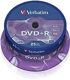 Verbatim 1239475 43500 4.7GB 16x DVD+R Matt Silver - 25 Pack Spindle