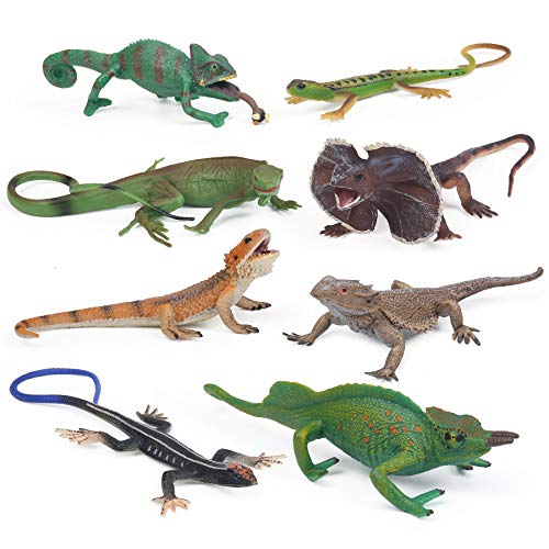 UANDME 8pcs Lizard Animal Figurines Realistic Reptile Animal Figures Chameleon Prank Props Scary Toy Playset Wilde Life Creatures