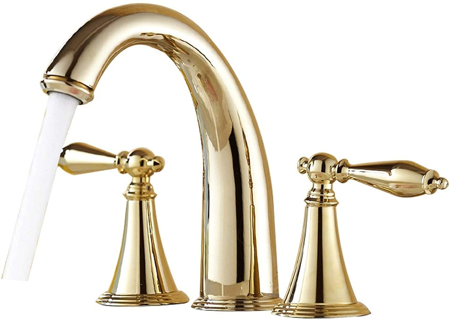 Bathroom Basin Tap Split-type Faucet Copper Double Three Hot And Cold Bathroom Wash Basin Mixing Valve Retro Hole European Diameter 30MM To 35MM Can Be Installed