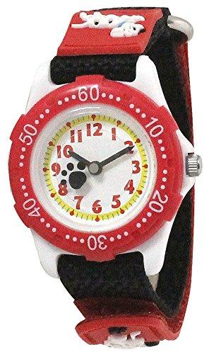 [クレファー]CREPHA 腕時計 こどもウォッチ イヌ ナイロンベルト 3気圧防水 レッド×ブラック BAK-4115-GD ガールズ