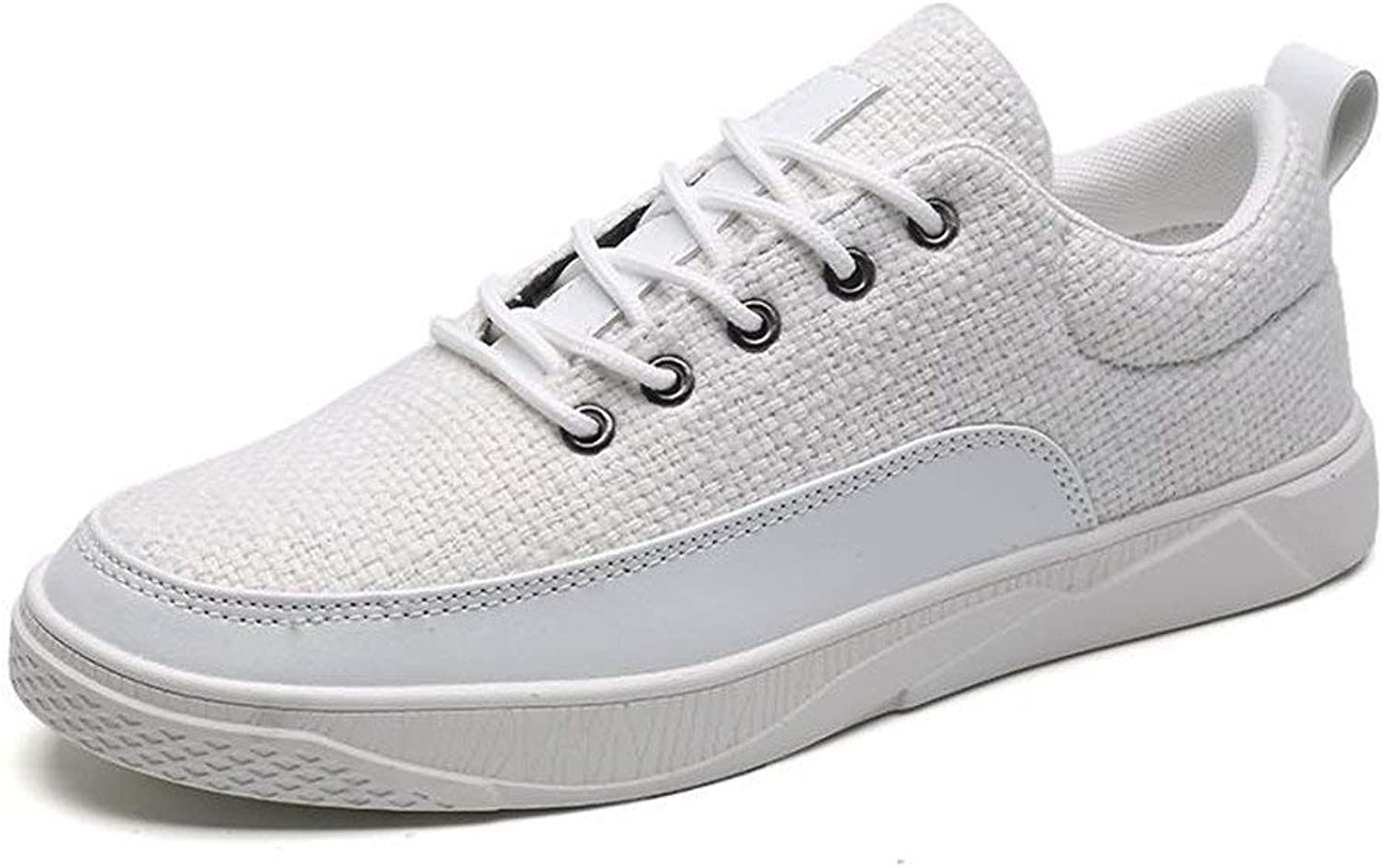 FuweiEncore 2018 Men's Fashion Sneaker Lace Up Solid color Flat Heel Splice Vamp shoes (color  Cream-colord, Size  42 EU) (color   White, Size   43 EU)