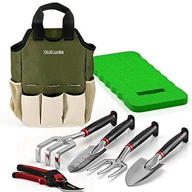 Comfort Plus 7-Piece Gardening Tool Set - Includes EZ-Cut Pruners, Lightweight Aluminum Tools with Soft Rubber Handles and Ergonomic Garden Tote and High Density Comfort Knee Pads