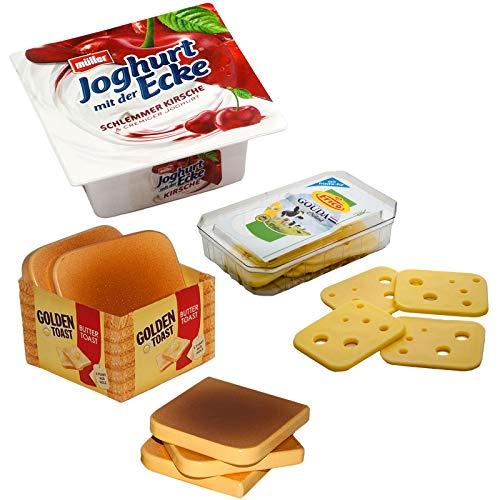 #11 Kaufladenzubehör Pausen-Set mit Golden-Toast, Frico-Käse und Joghurt der Ecke - Kaufladen Frühstück Toast Käse Kinderküche Kaufmannladen Zubehör