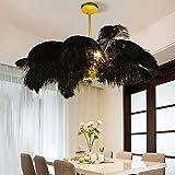 Pendant Light Feathers, Modern Home Chandelier, Elegant Feather Lamp, Girl Bedroom Decoration, Creative Craft Pendant Light - Black