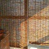 Geovne Persianas de Caña Cortina de Paja Rollo Bambú Ventanas,Estores de Bambú Estores Enrollables Romanas,Estor Enrollable de Bambú Natural,Adecuado para Puertas Y Ventanas (110x130cm/43x51in)