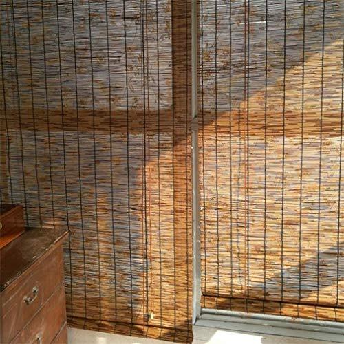 Geovne Rideau de Roseau Stores à enroulement,Stores en Bambou/Store Venitien Bois/Store Fenetre Occultant,pour Balcon/Jardin/Extérieur (80x110cm/32x43in)