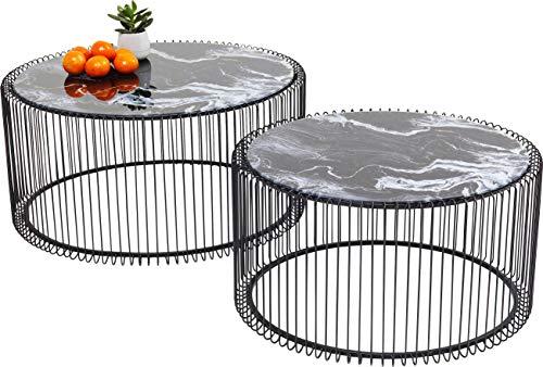 KARE Wire Glass Set de 2 Mesas de Centro, Negro (Marble Black), 30.50 x 60 x 60 cm/33.50 x 69.50 x 69.50 cm