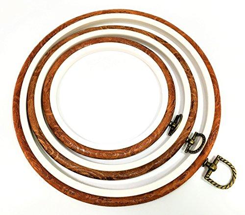 刺しゅう枠 3枚セット 木目調 クロスステッチ (サイズ 内径 11/15/19cm) rl-07