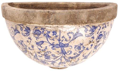 Esschert Design Blumentopf, Wandhalbschale aus Keramik in blau-weiß zur Wandbefestigung, ca. 28 cm x 12 cm x 18 cm