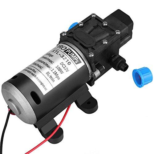 Keenso 12V Membran Selbstansaugende Wasserpumpe 100 Watt 8L / Min 160Psi Hochdruckwasserpumpe Intelligentes Ventil mit Druckschalter für Autowaschmaschine Solarenergie Wasserpumpe