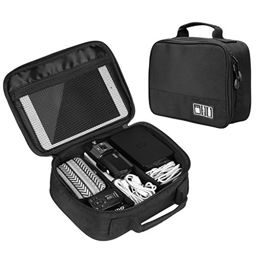 Electronics Accessories Organizer Bag, SLYPNOS Gadgets Accessories Case Storage USB Cable Charger iPad Mini Mobile Phone Digital Camera SD Card Earphone Power Bank, Black