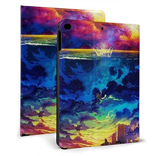 GOSMAO iPad Case Fit iPad 7th Generation 2019, iPad 10.2 Case Blue and Gold Occupy The Horizon Surface Cloud City PU Leather Business Cover with Stand Pocket and Auto Wake/Sleep for iPad 10.2'
