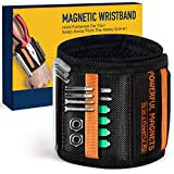 Magnetic Wristband Best DIY Dad Gifts- Gifts Tool for Men Magnetic Tool Wristband with Powerful Magnets, Father Carpenter Men Gadgets Gifts Magnetic Wristband for Holding Nails Screws Drill (black)